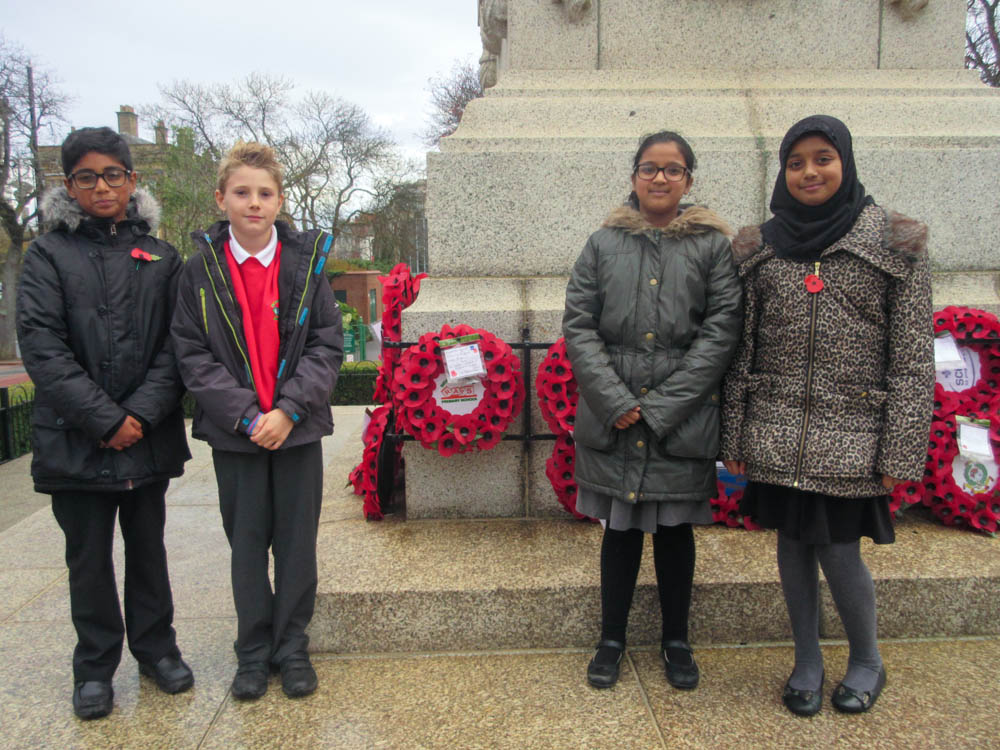 The children at the Cenotaph in Sunderland