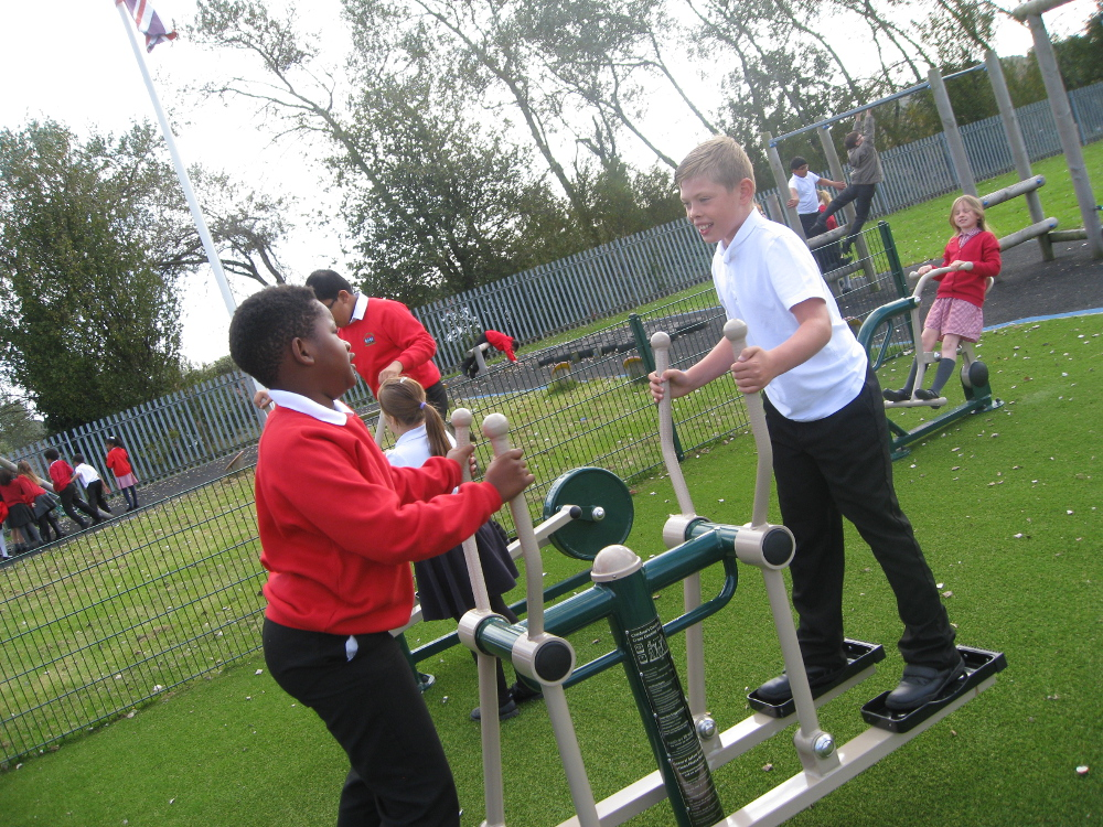 The children use the new Sports Equipment