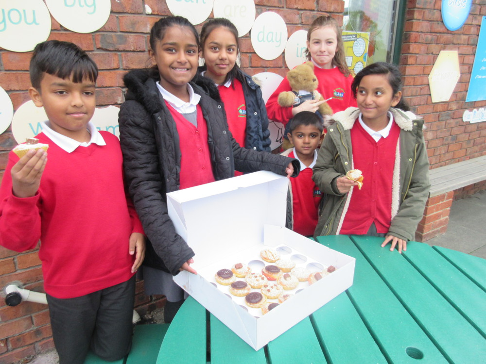 The children selling cakes for Children in Need