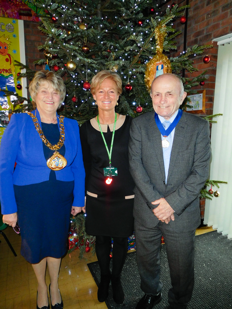 Headteacher Karen Todd with the Mayor of Sunderland and the Consort