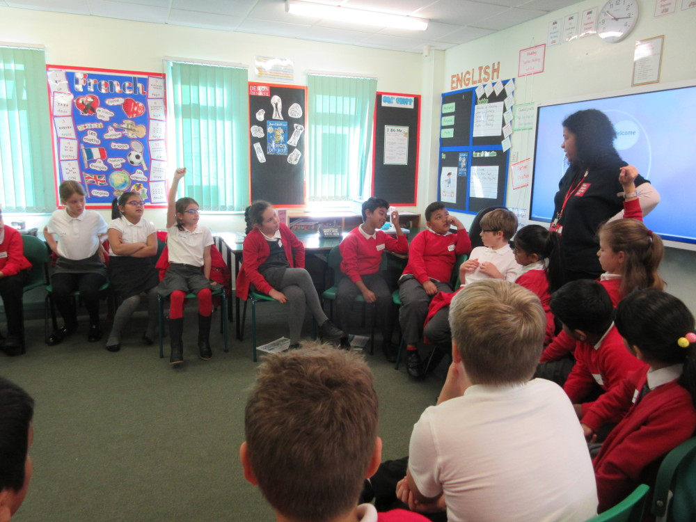 The children take part in a Show Racism the Red Card Activity