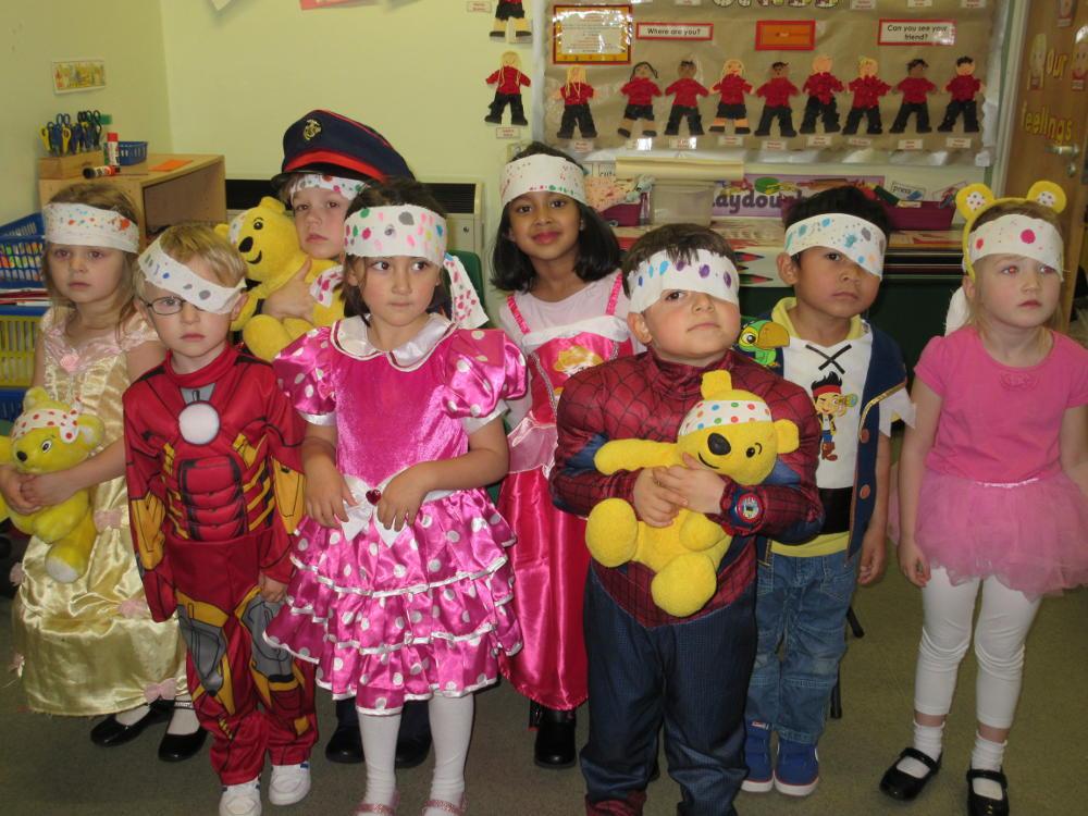 The children in fancy dress to raise money for Children in Need