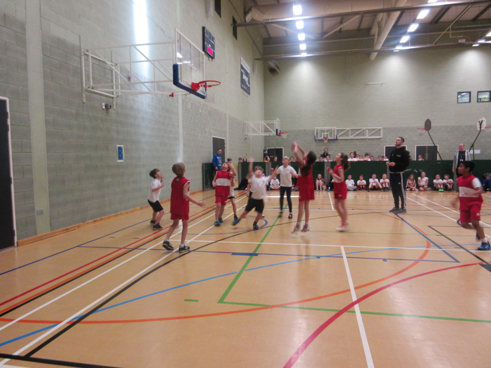 The basketball team in action
