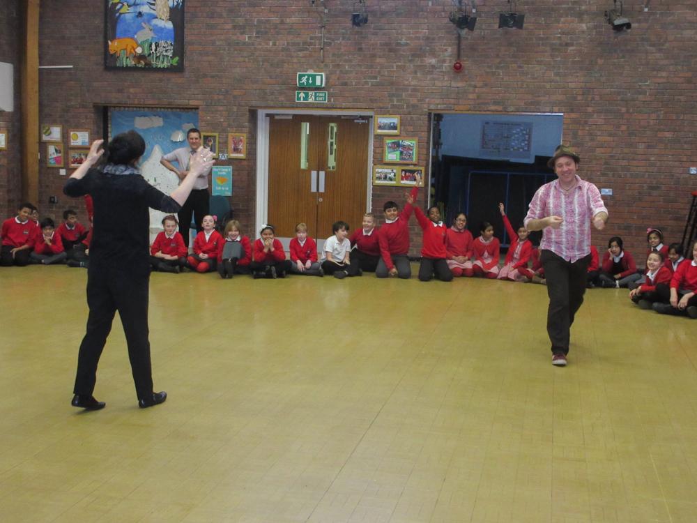 Ian Douglas story teller and Miss Howard