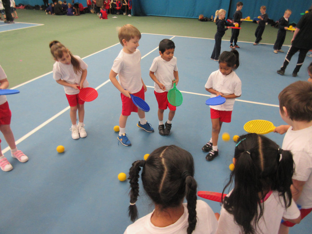 Children performing the agility test