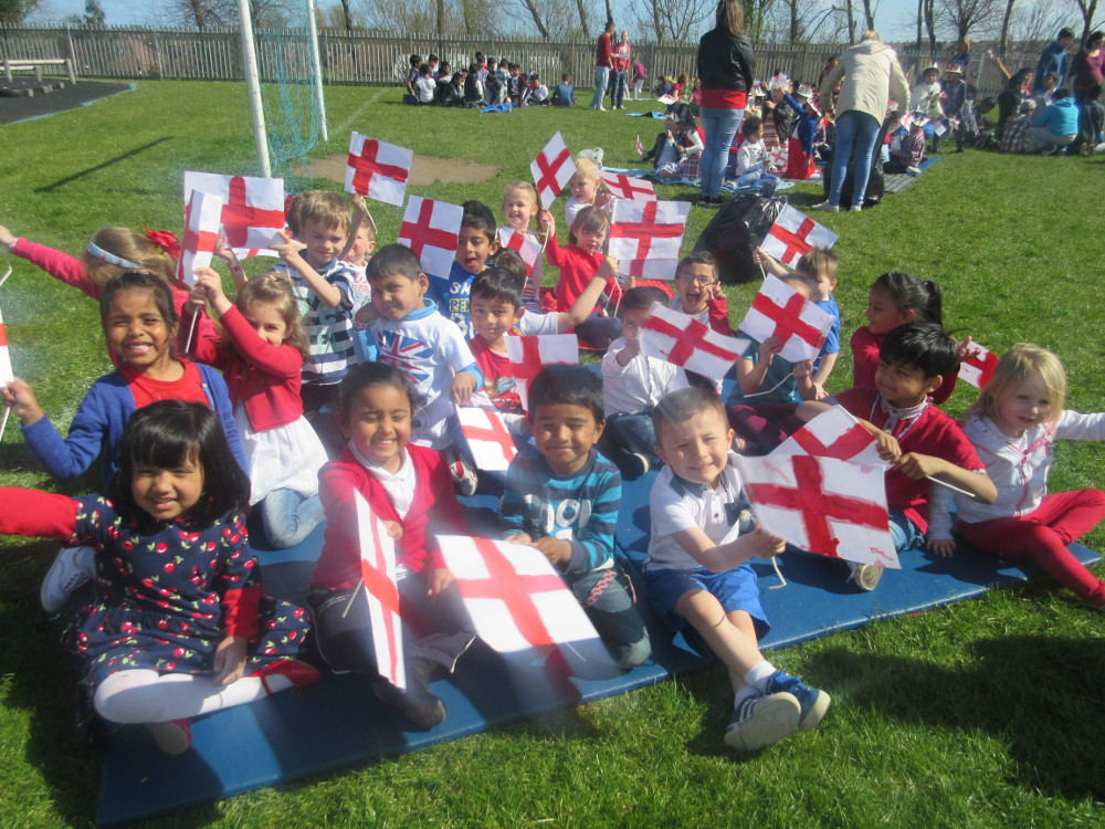 The children celebrate the Queen's 90th Birthday