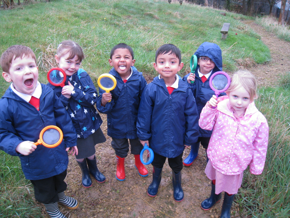 The children ready to search the wildlife garden