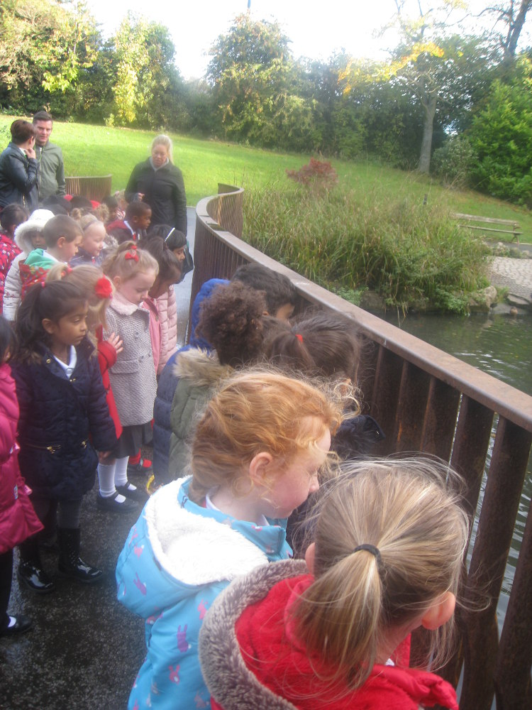 The Children looking at the pond at Barnes Park