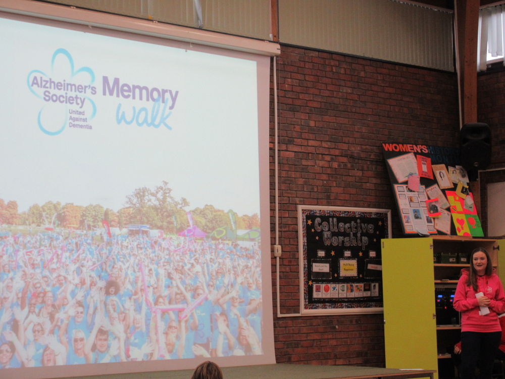 Lucy from the Alzheimer's Society taking her assembly