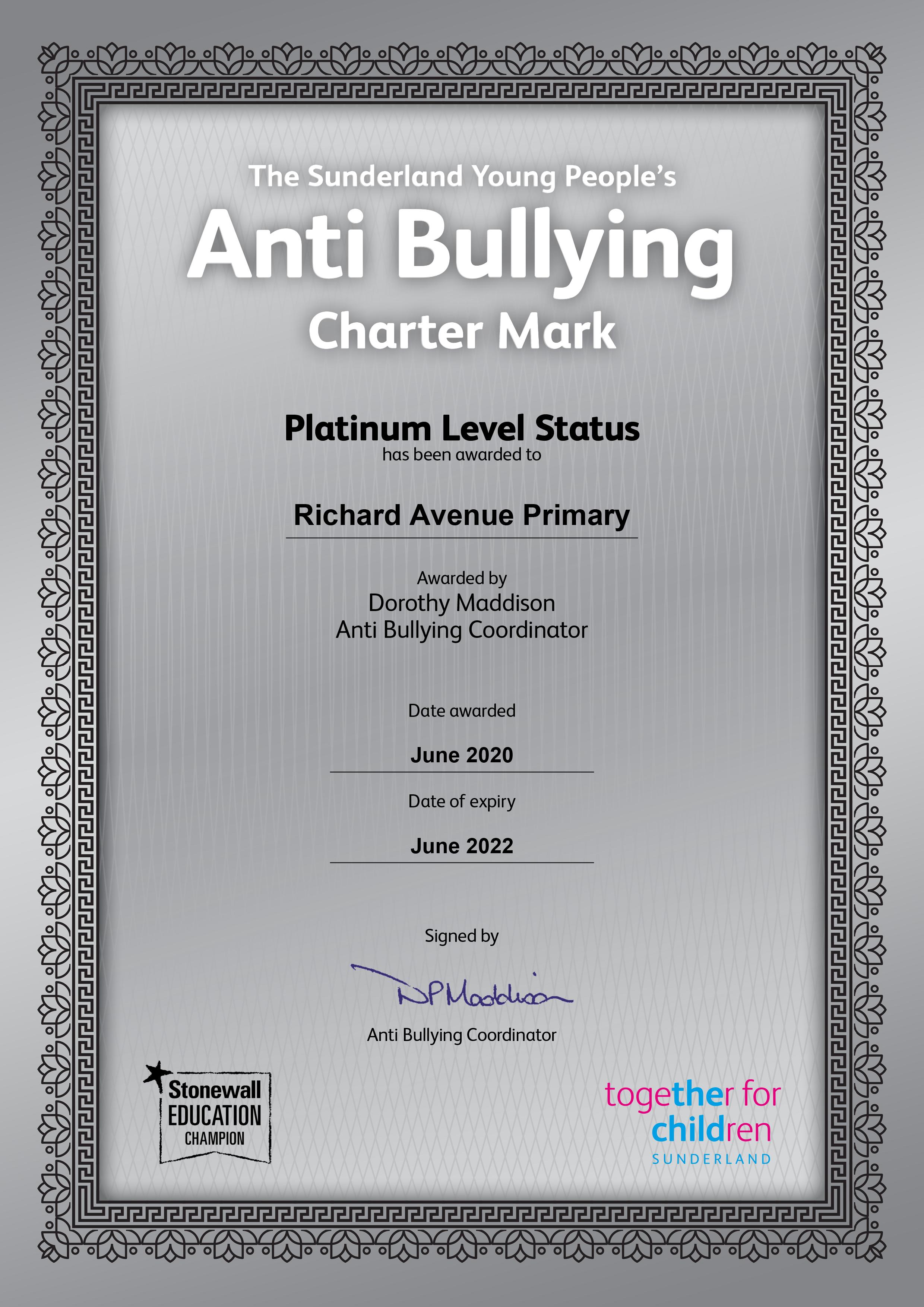 Richard Ave Platinum Anti Bullying Cert